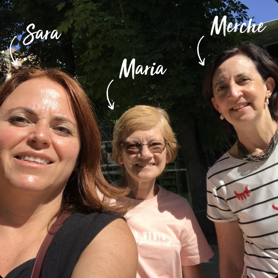 English-speaking friends, Sara, Maria and Merche, meet in Madrid