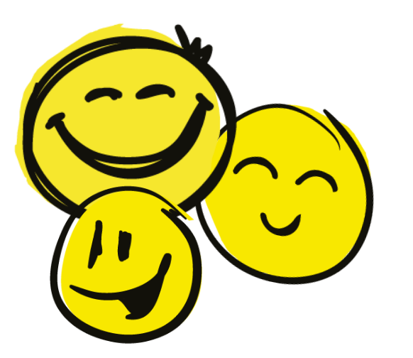 Three illustrated smiley faces