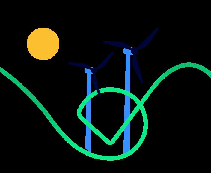 Illustration of wind turbines
