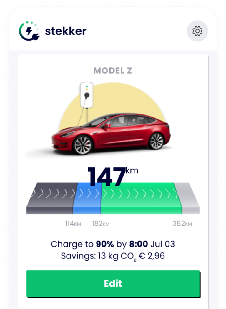 Screenshot of Stekker App where a charging session is active.
