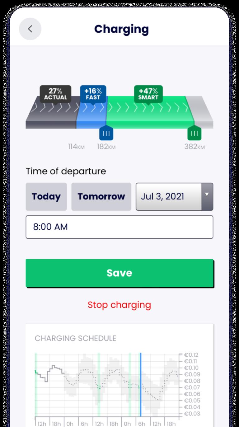 Screenshot of managing a charging session