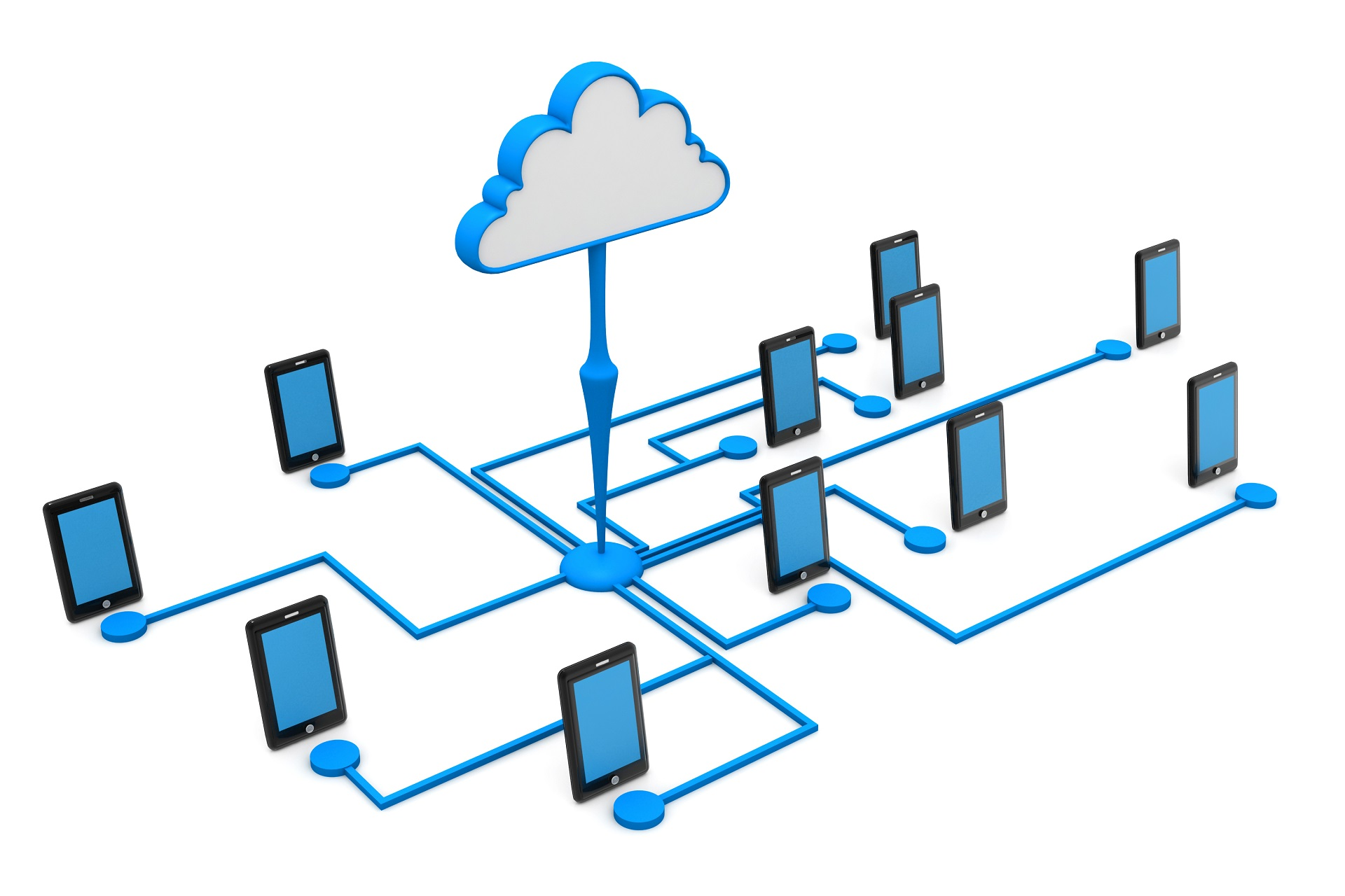 Cloud connecting to many mobile devices