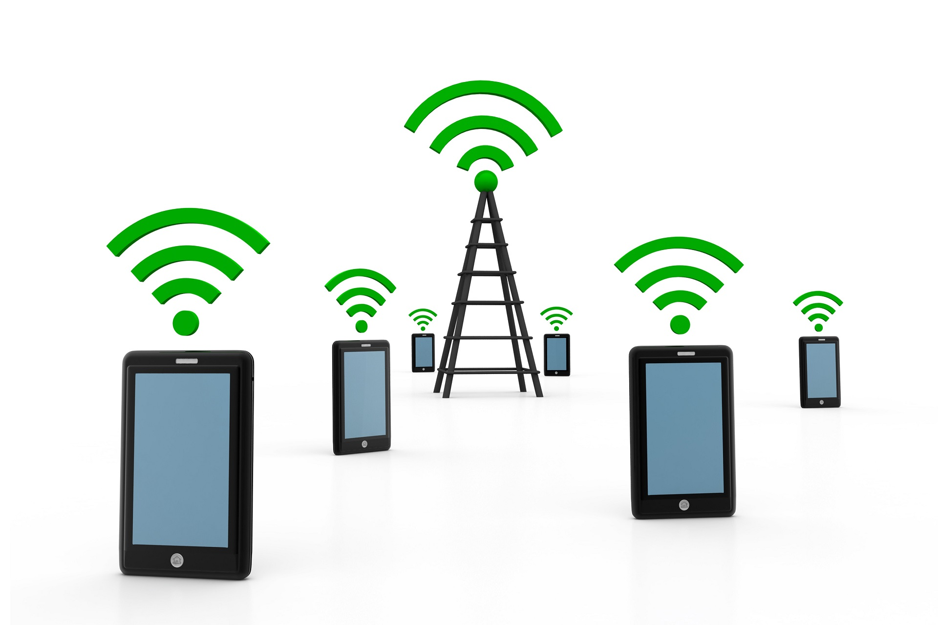 Cellular Devices and Tower Transmitting Signal