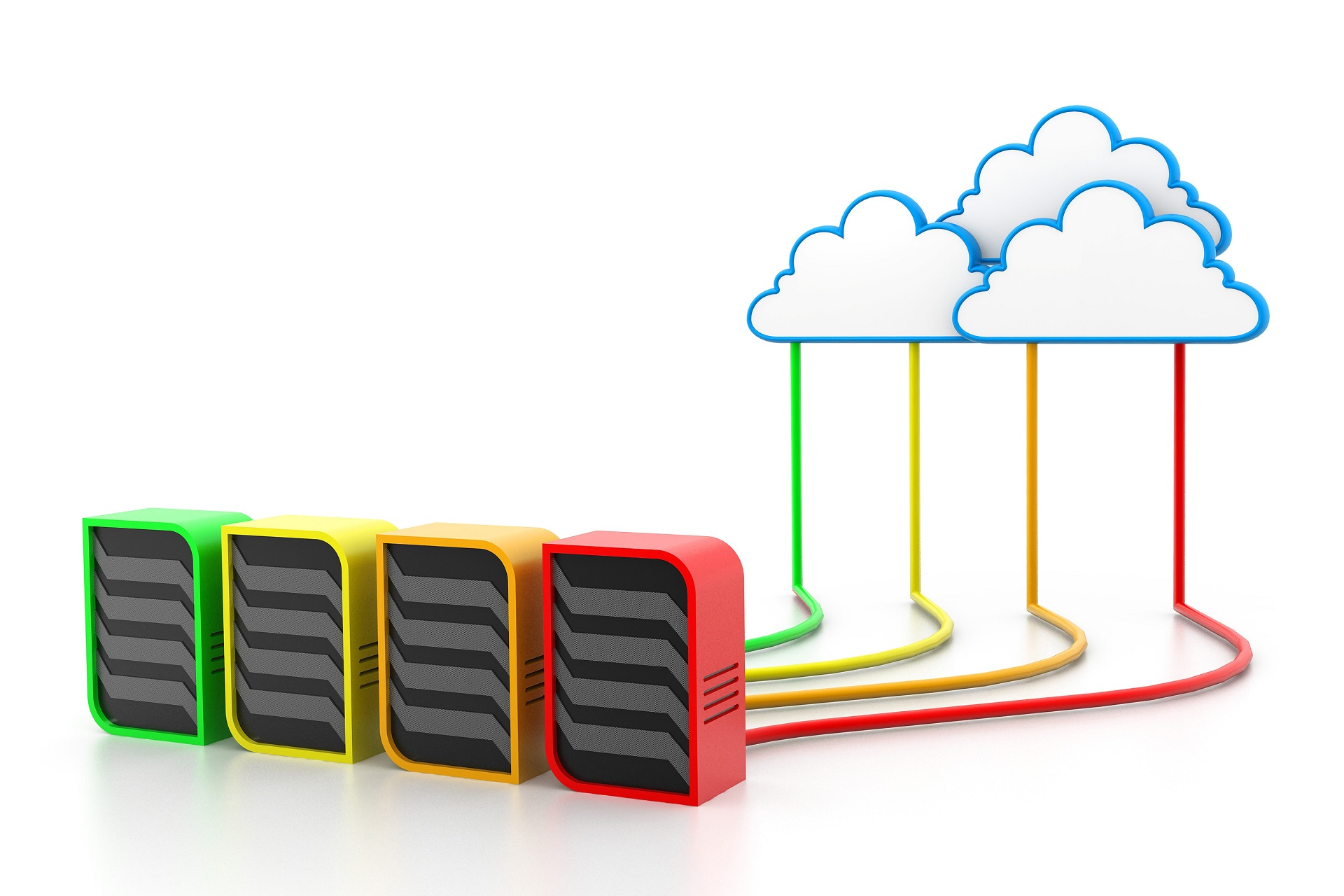 Multi-Colour Servers connected to Cloud with cable