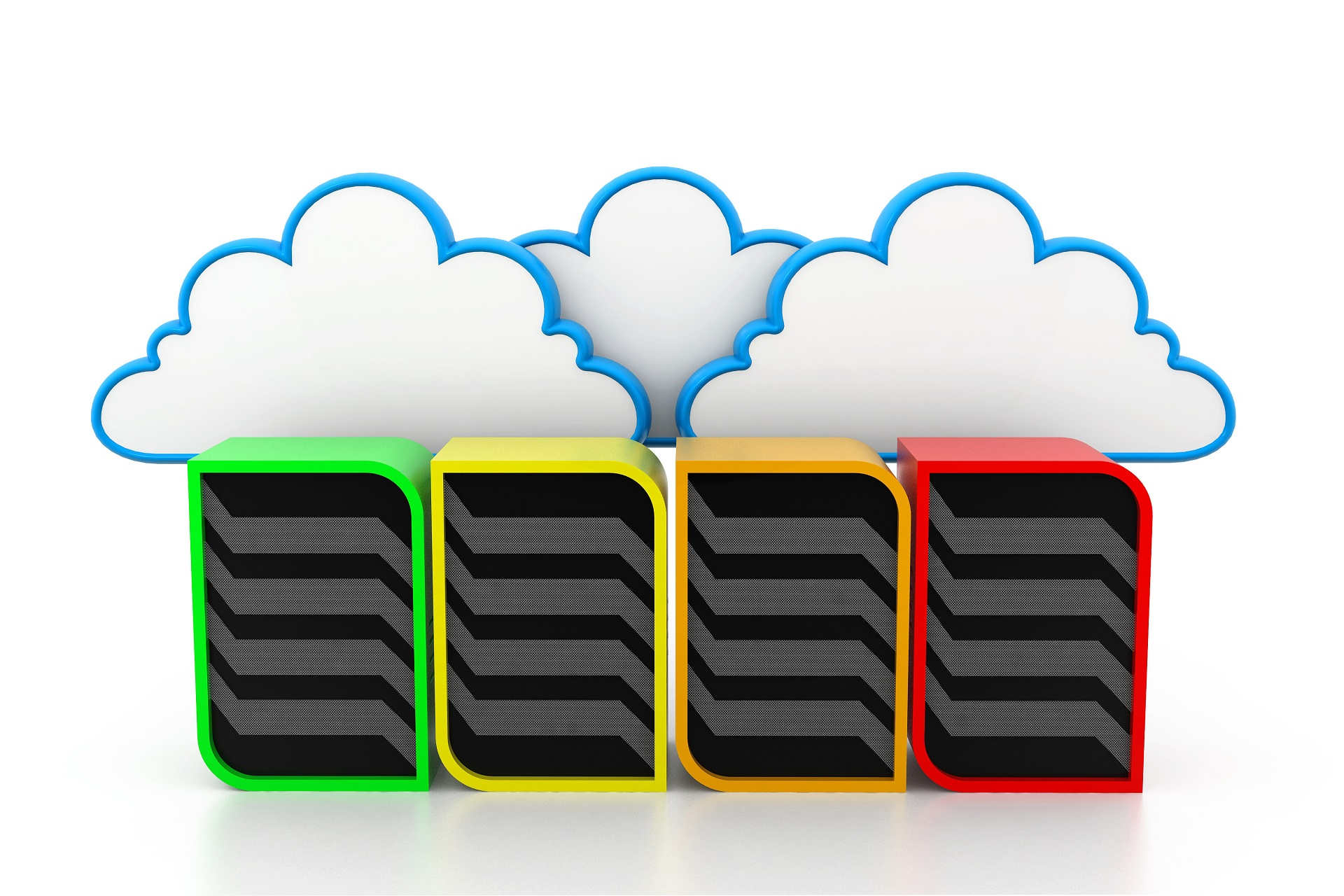 Servers with Different Colour's in Front of a Cloud