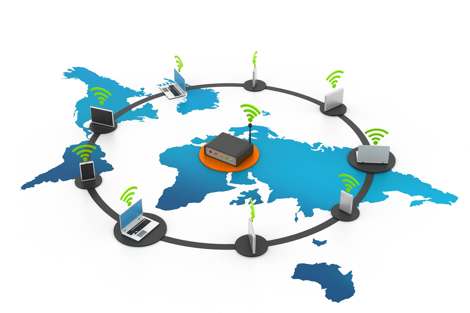 SD-WAN Router across map of the world with many different devices in a circle