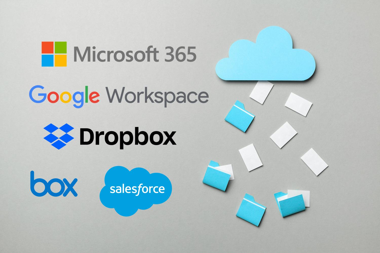 Cloud Image with Microsoft, Google, Salesforce, Box and Dropbox Logos