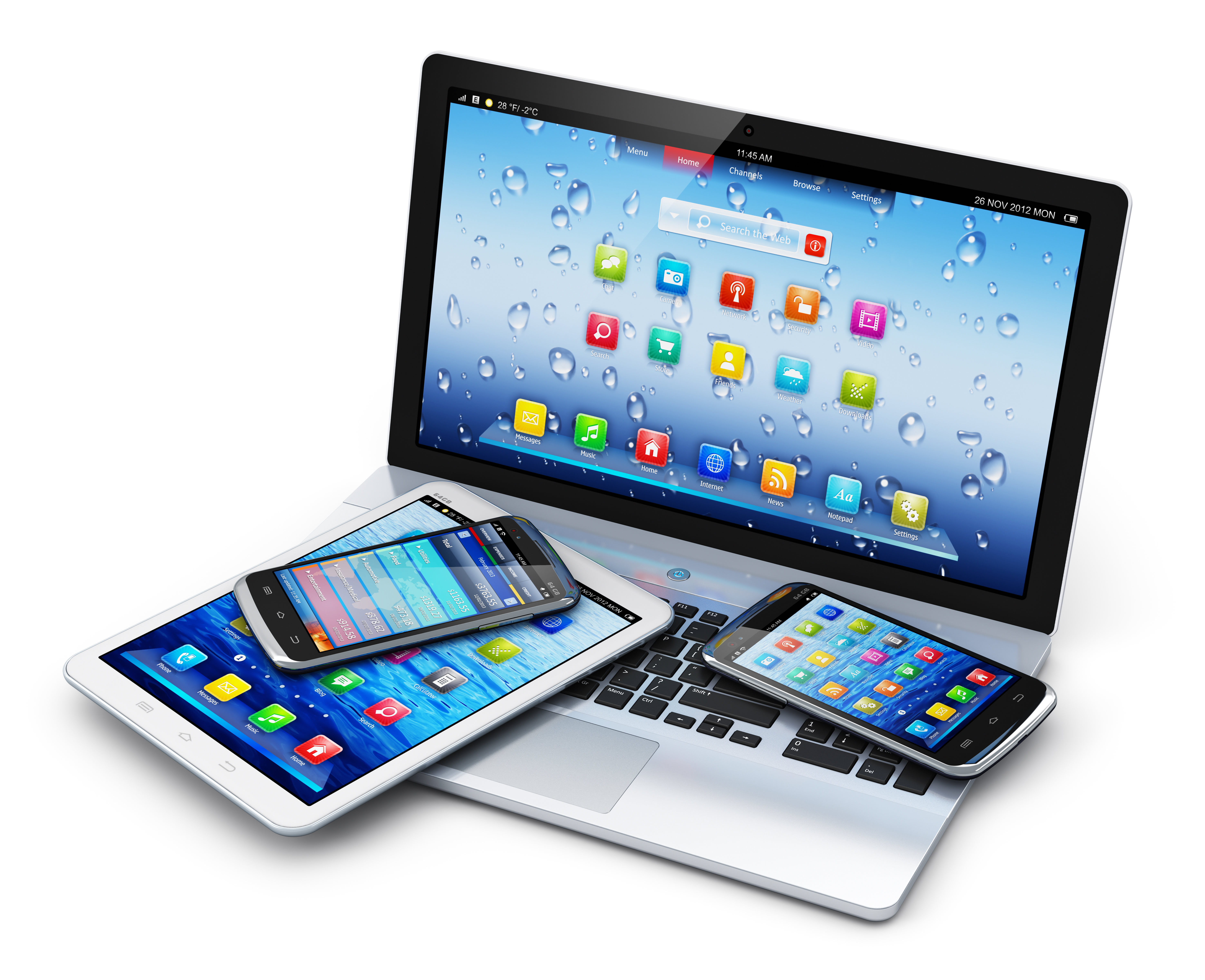Laptop, Smartphones and Tablets