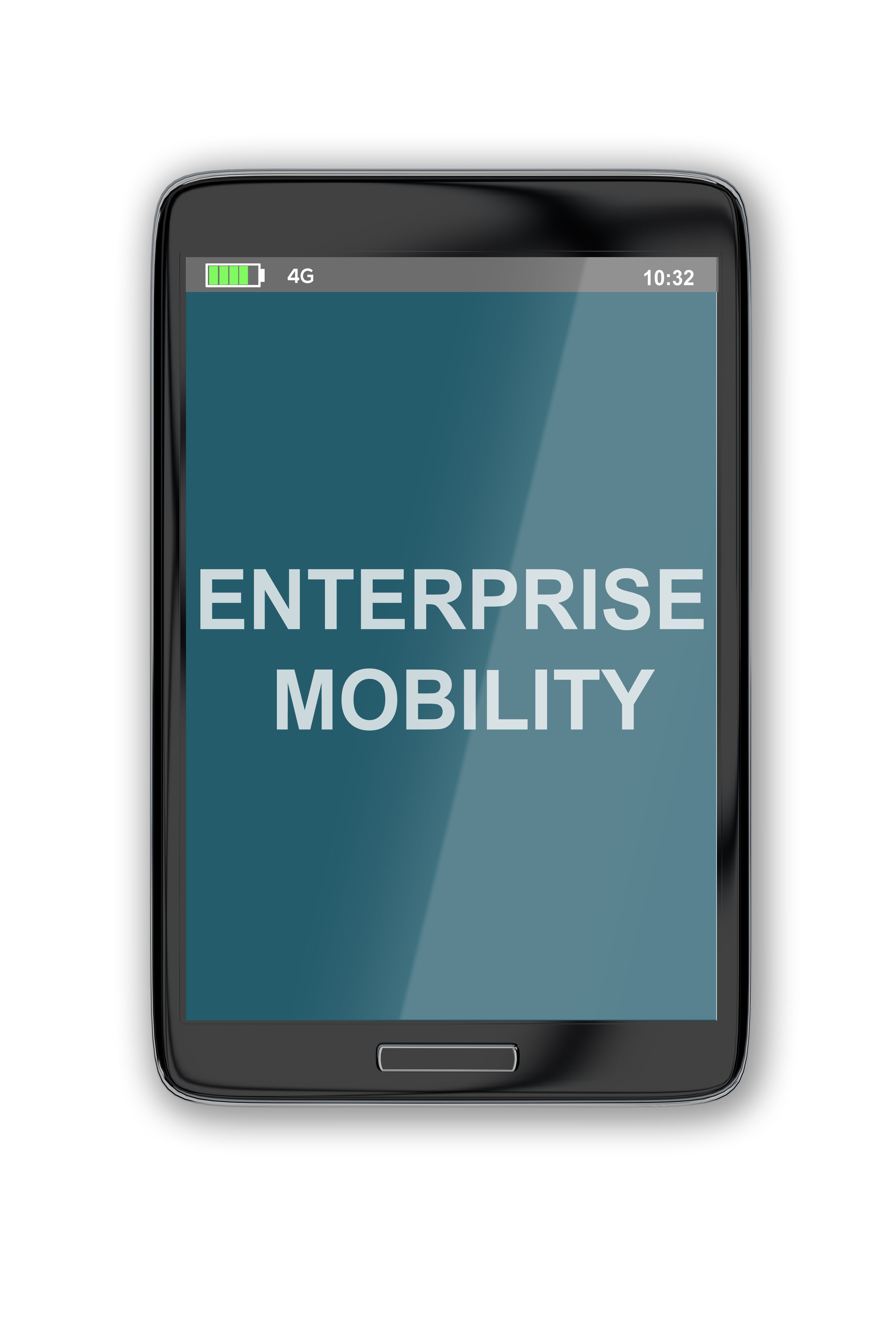 Mobile Device with Enterprise Mobility Text on Screen