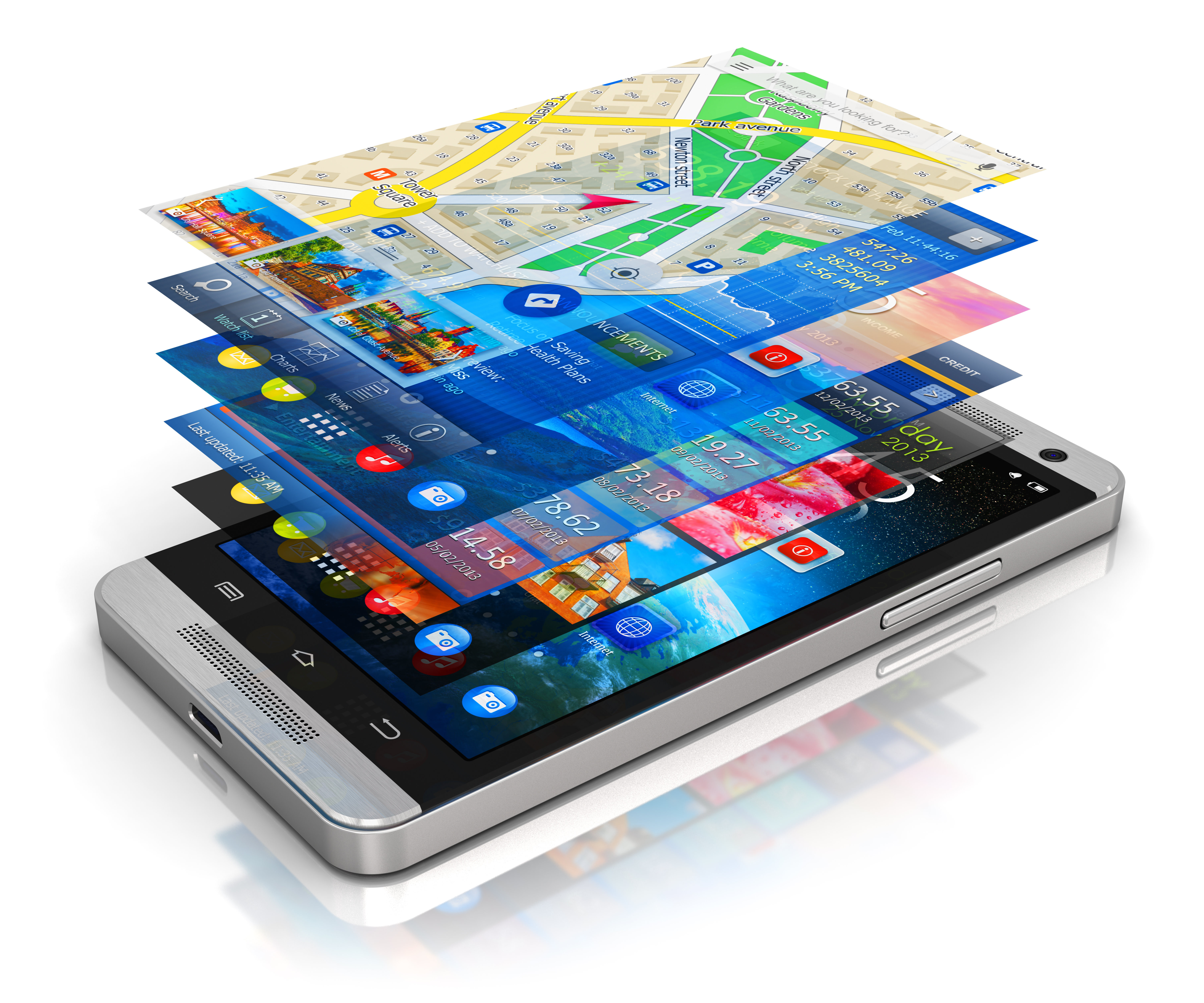 Mobile Devices with Multiple Screen Layers