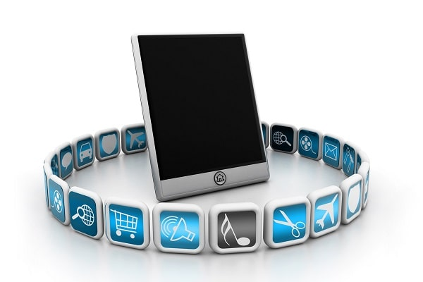 Mobile Device surrounded by Apps
