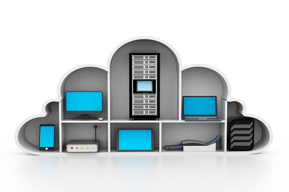 Cloud facing in front with multiple hardware devices within it