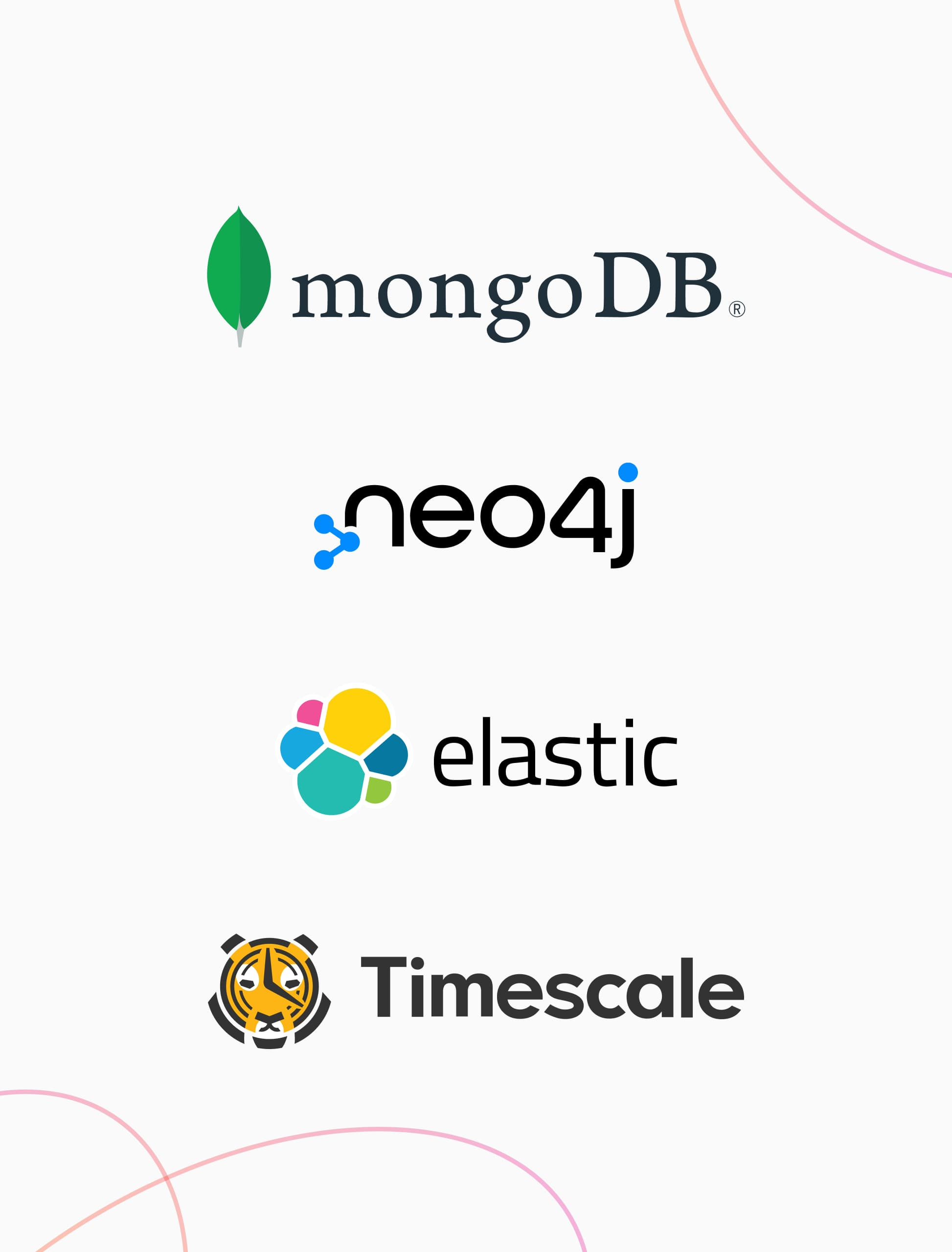 4 logos inlcuding mongodb, neo4j, elastic search, and timescale