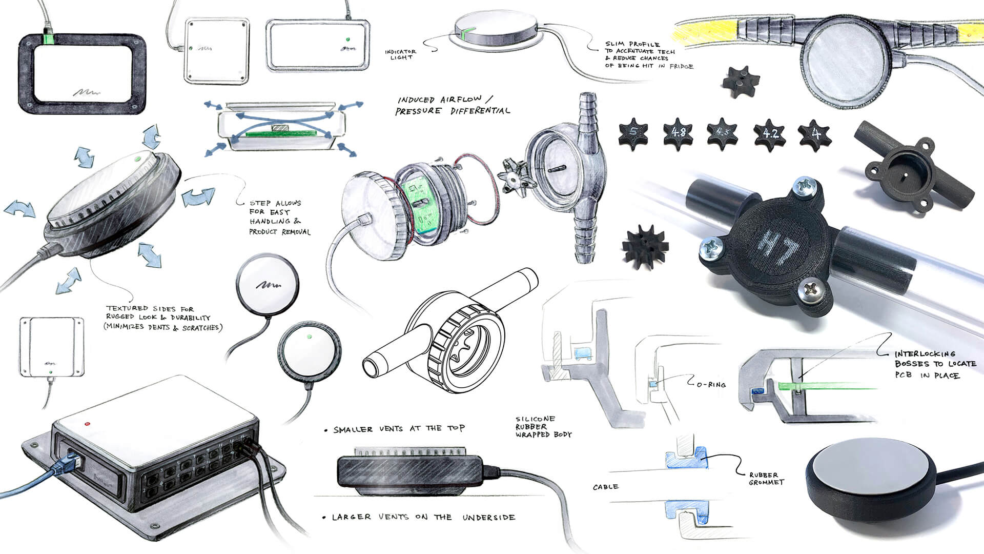 A compilation of sketches, mock-ups, prototypes, models, 3D CAD, and renderings of the VERO Beverage Management Hardware.
