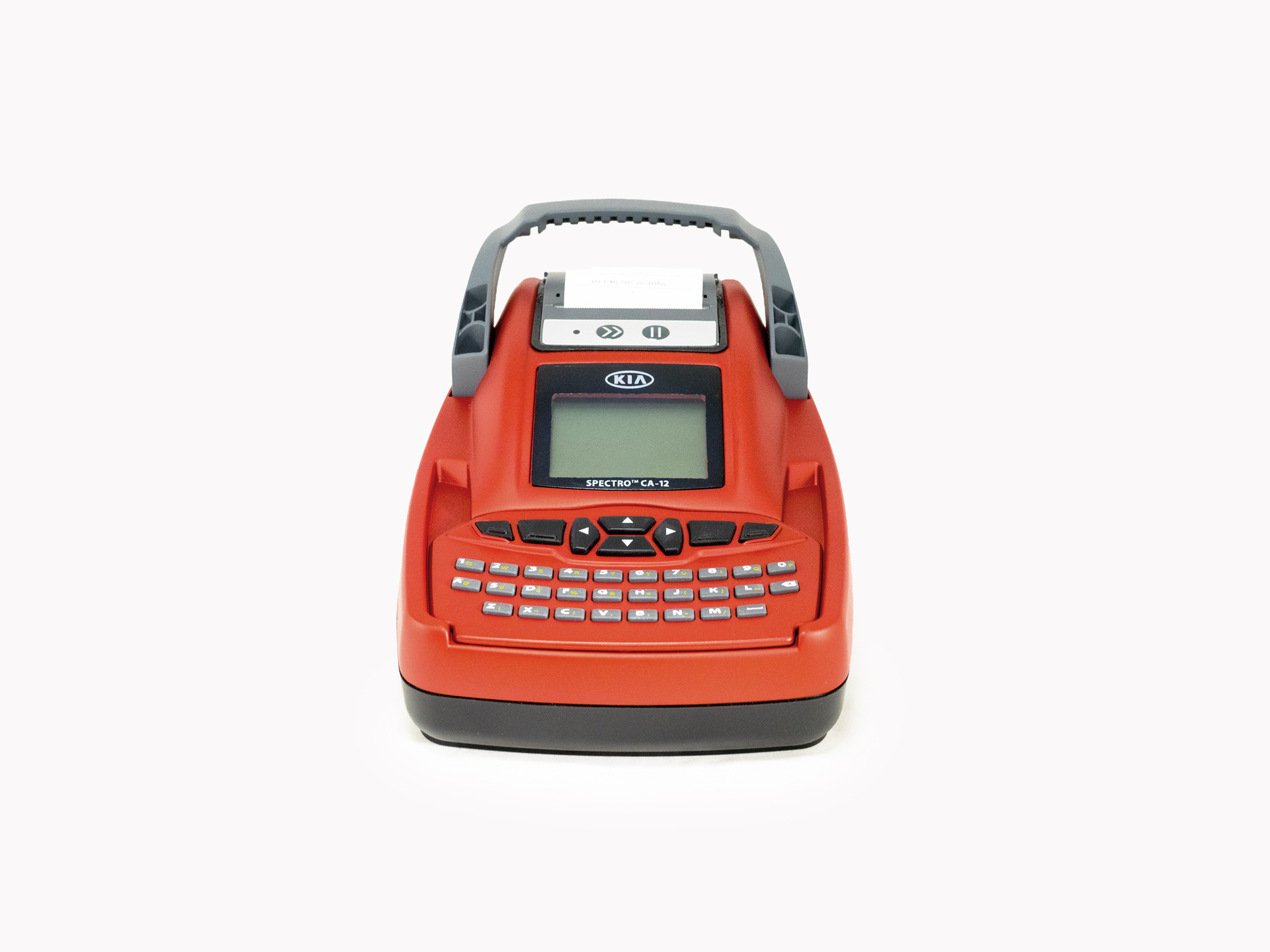 A red version of the CADEX Spectro Rapid Battery Analyzer on a plain white background.