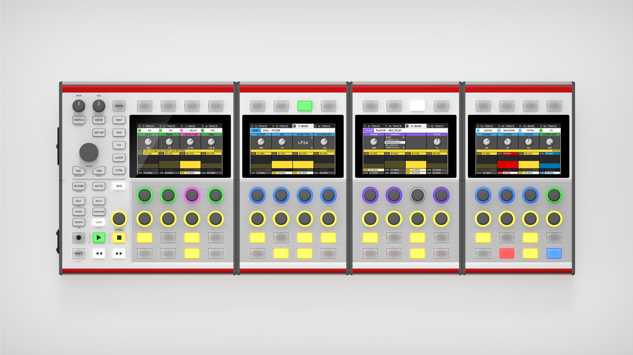 A top-down render of the DASZ ALEX Expandable Synthesizer in a QUAD formation.