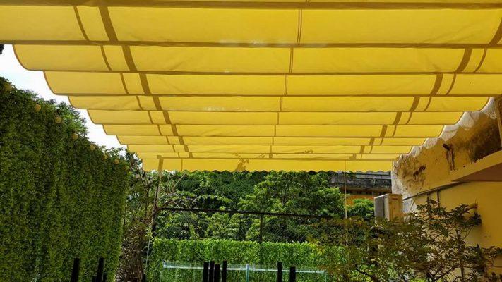 mái hiên xếp màu vàng đẹp di động Hà Nội