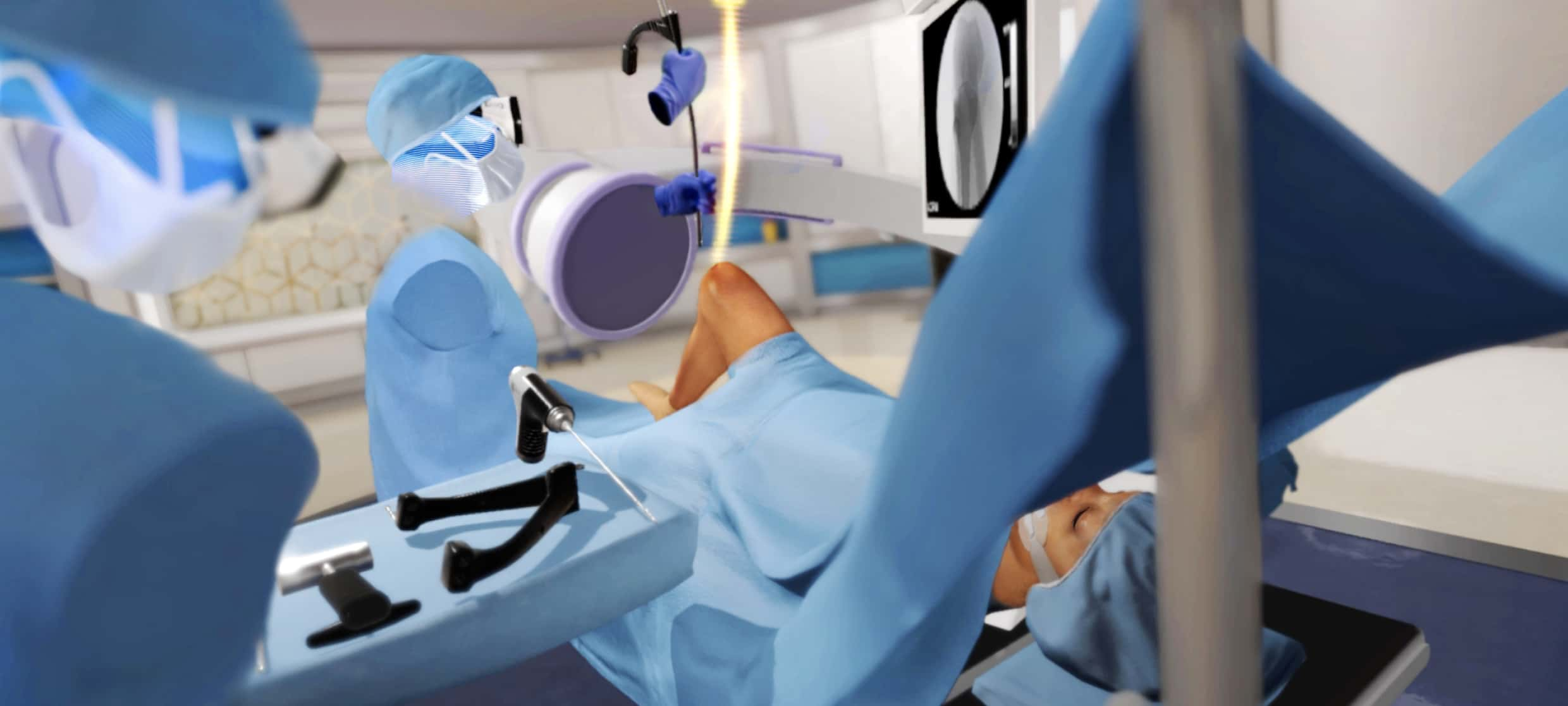 Rendering of Osso VR experience showing avatars performing a surgery.