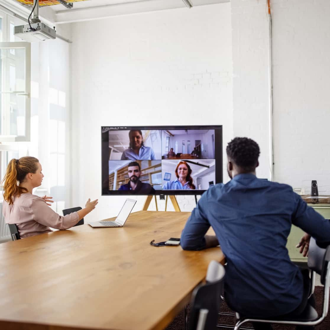 Osso employees video conferencing