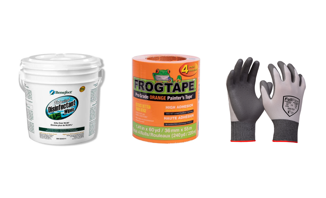 Image of products for sale from Gate Street in Mississauga/ Products include disinfectant, construction frog tape, work gloves.