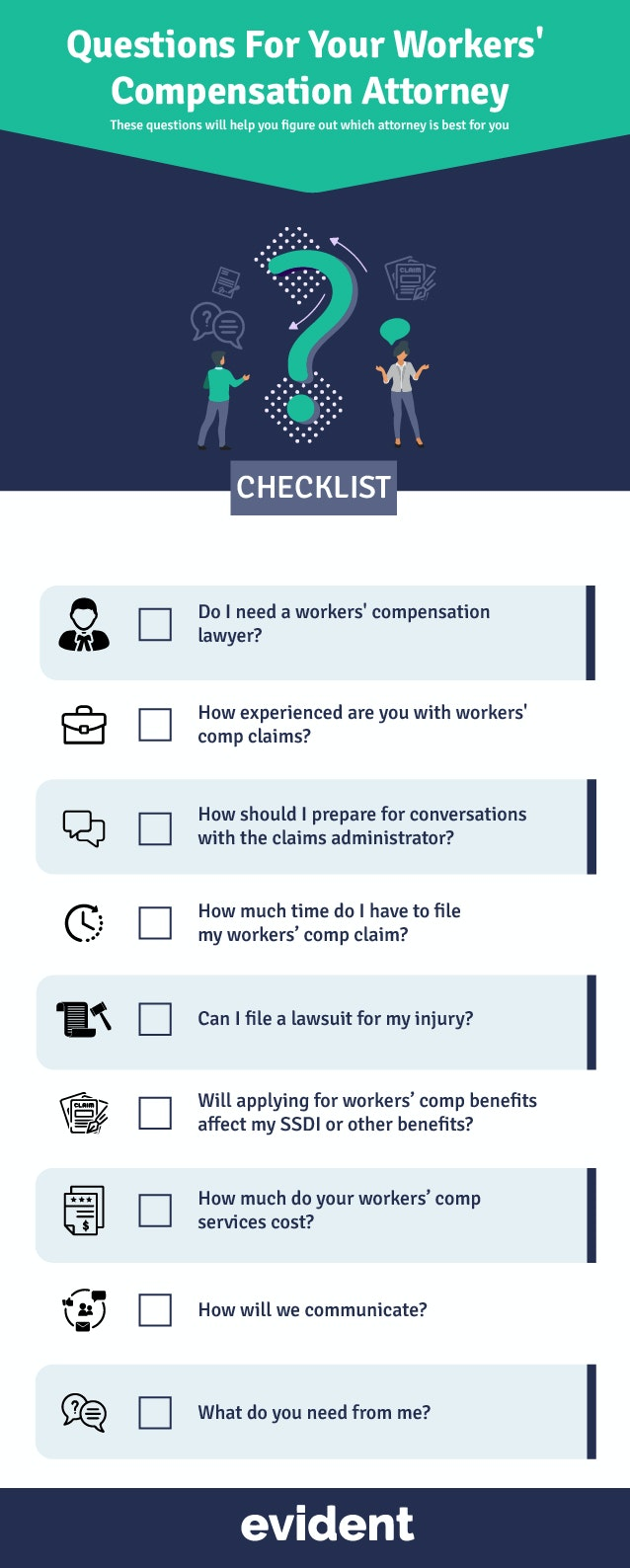 checklist of questions to ask a workers' compensation lawyer