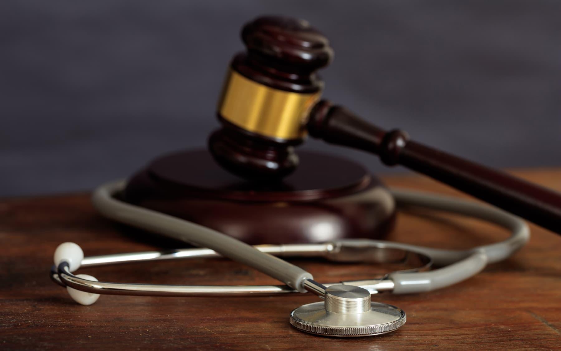 Stethoscope and judge's gavel