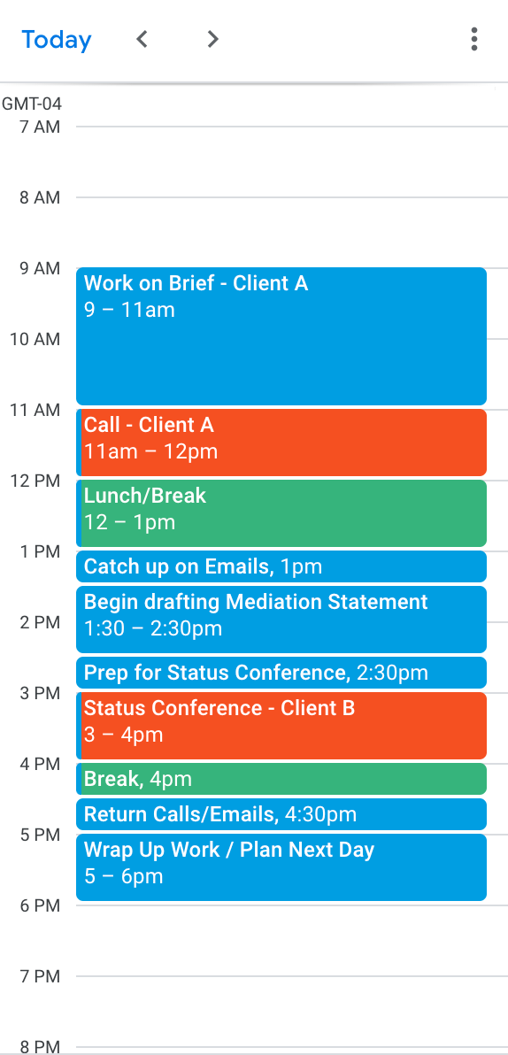 Day-planner with blocks of time scheduled for tasks