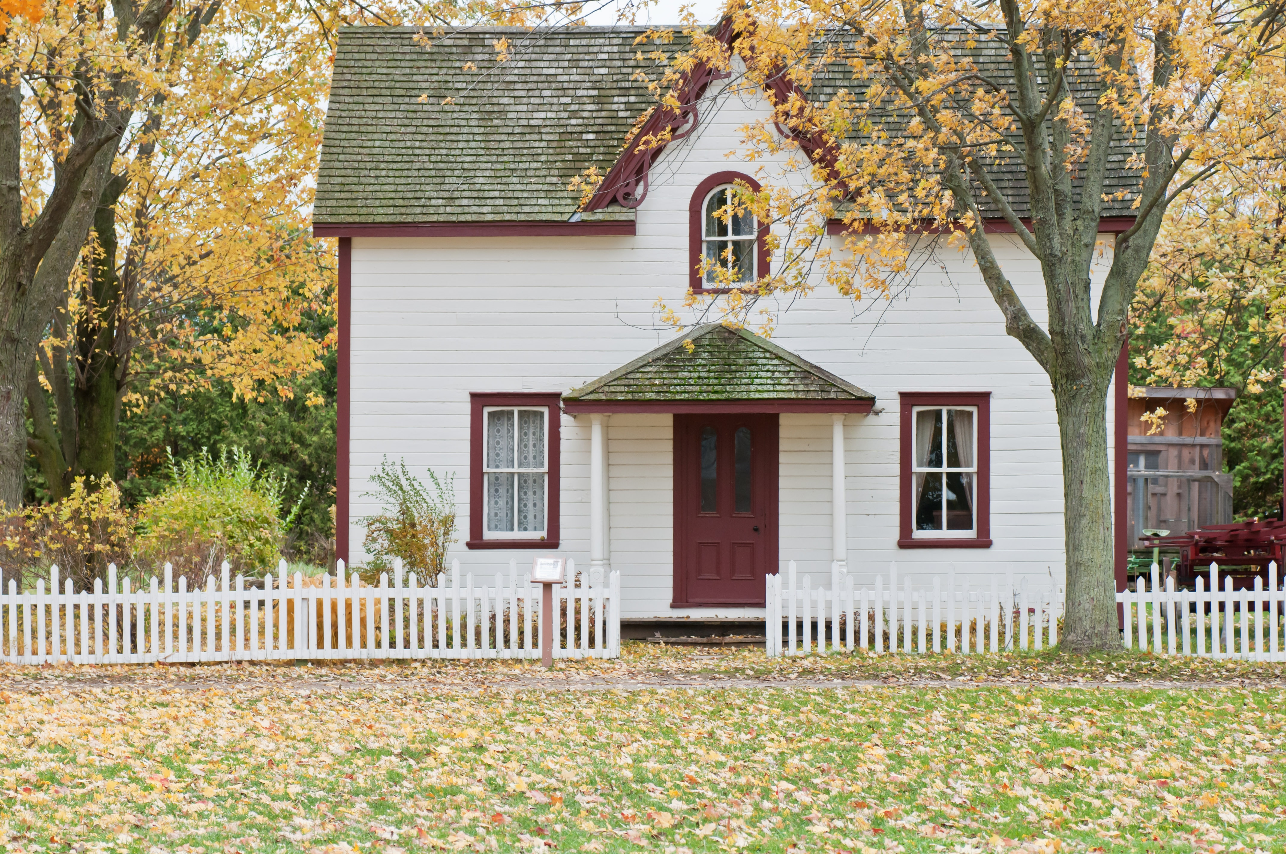 House and garden in autumn.