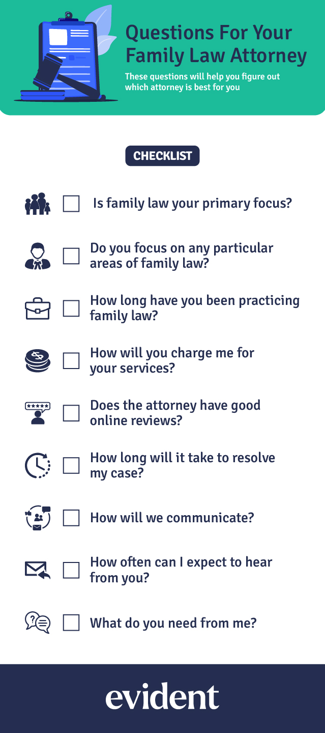 Checklist of the key questions to ask a family law attorney