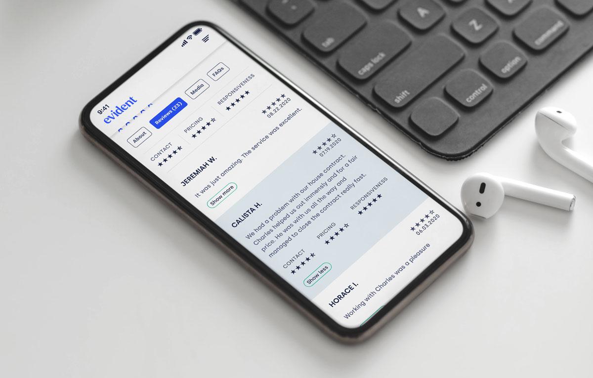 Client reviews on evident mobile app