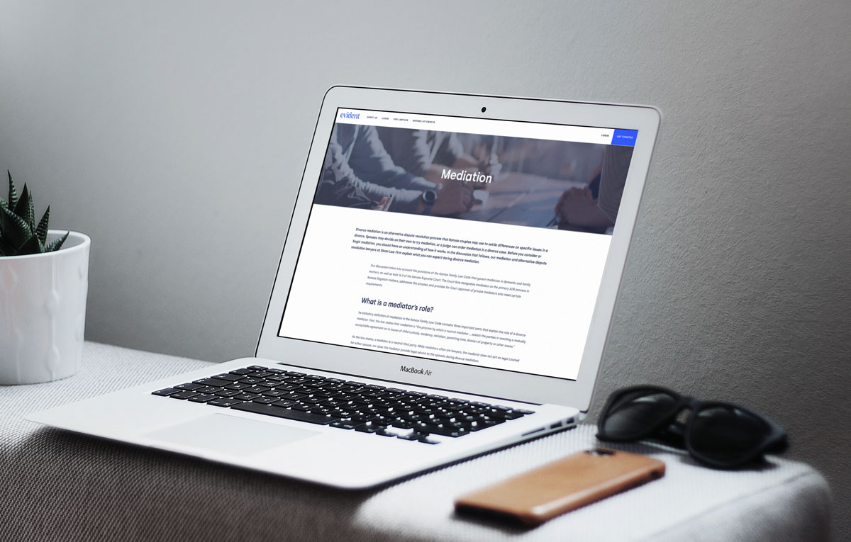 Computer screen with legal articles from evident website