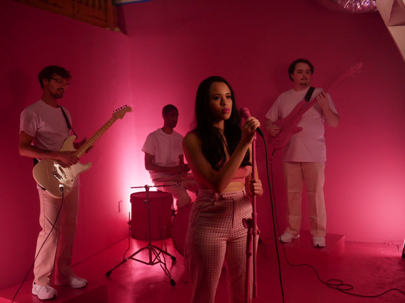 "Sophia Boro performing her new singel ""Hey"" in a studio setting made by Altru Creative"