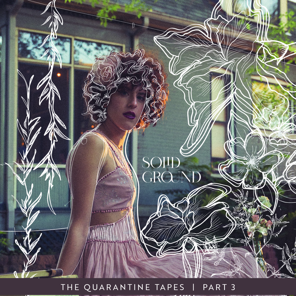 """Album cover for """"Sold Ground"""" by Marta Palombo. Artist is sitting on a ledge with swirling white lines around the floral cottage background."""