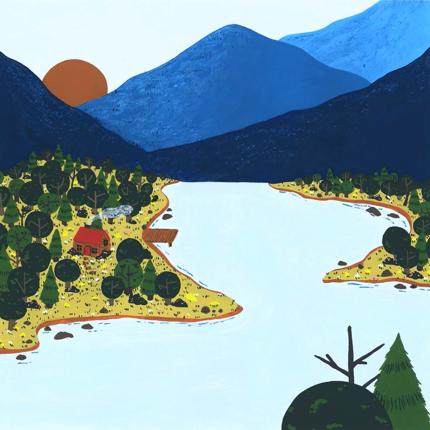 A graphic design of a river next to a mountain peak and forest. A small tent sits by the side of the river.
