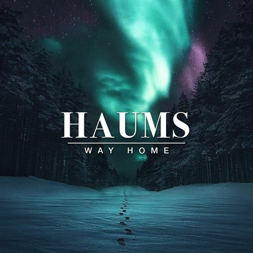 """A photo of blue, green, and purple lights in the sky (reminiscent of the Northern Lights) are the background to the album art, featuring the words """"HAUMS, Way Home."""""""