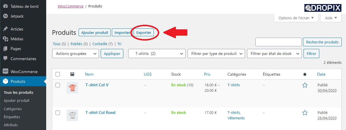 Export produit WooCommerce Dropix
