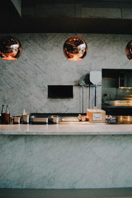 Open kitchen in modern restaurant