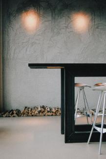 Wine bar table in modern restaurant