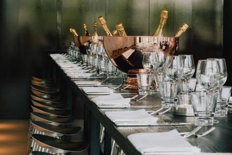 Champagne bottles in modern wine bar