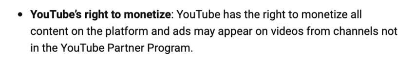 youtube monetizes every video