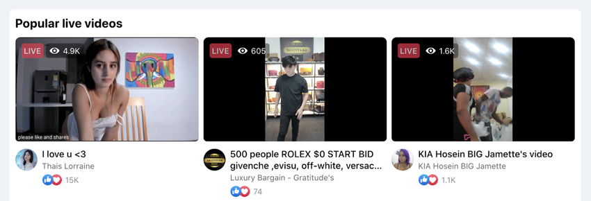 facebook recommended videos on a wedding live stream