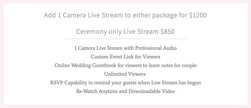 videographers selling live streaming services