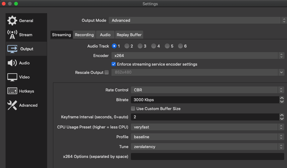 obs studio settings for live streaming events