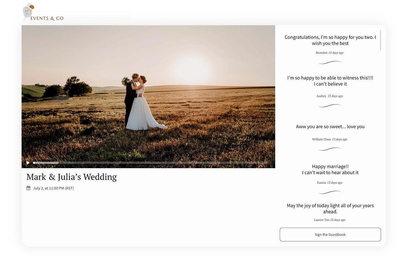 virtual wedding live stream