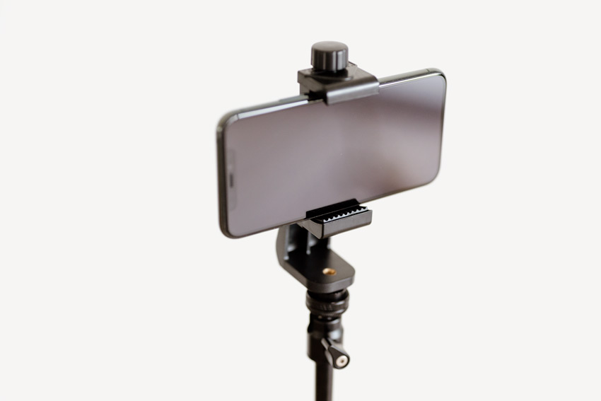 live streaming equipment - phone on tripod
