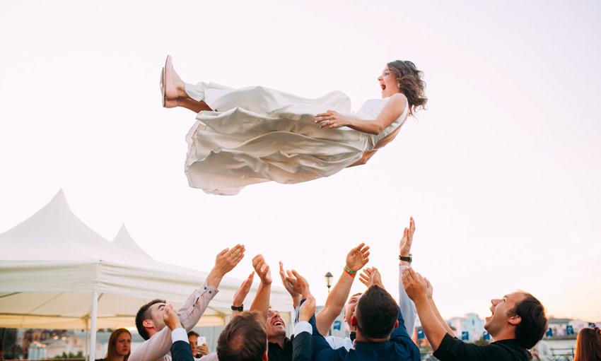 wedding bride flying in the air