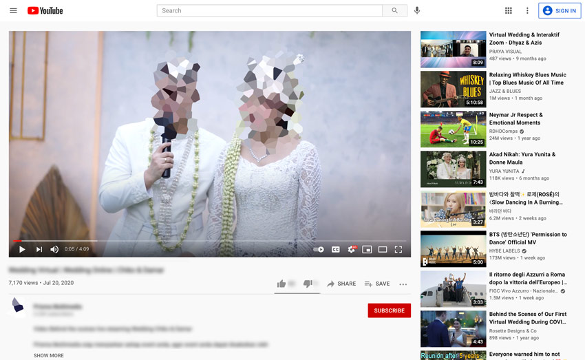 youtube live wedding