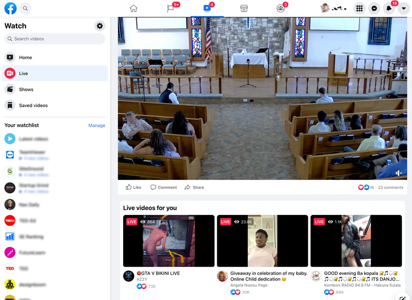 Facebook Live viewing page