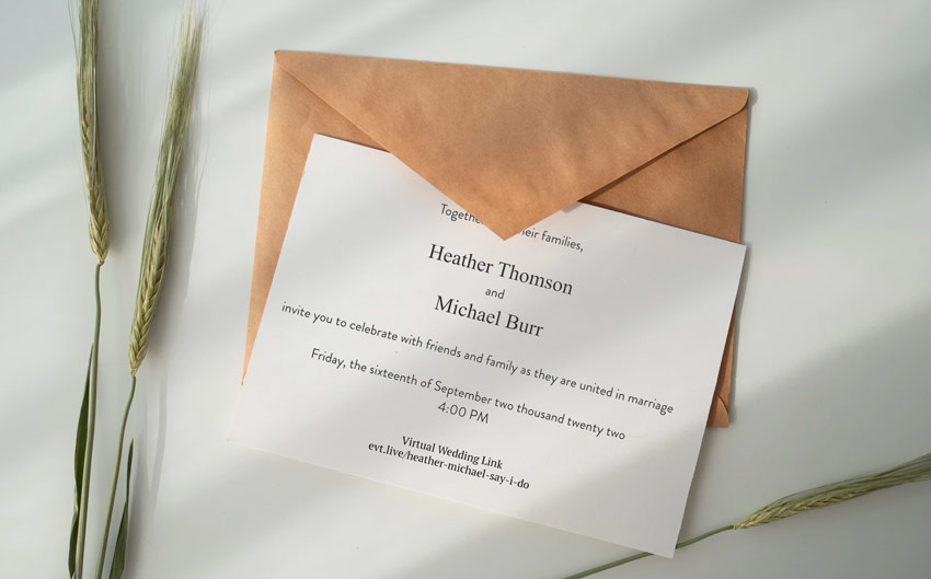 virtual wedding invitation