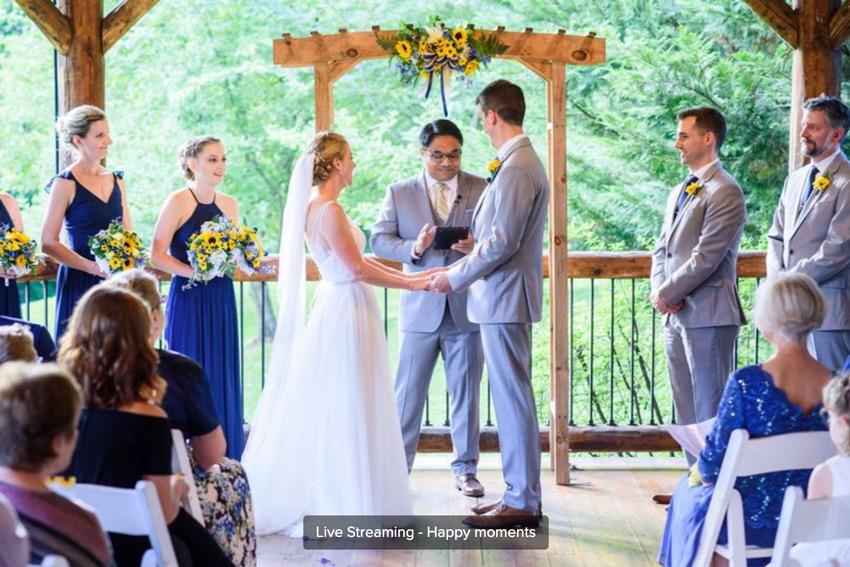 wedding photographer live streaming a ceremony